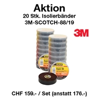 Aktion 20 Stk. 3M Premium Isolierbänder  19mm x 20m, 3M-SCOTCH-88/19